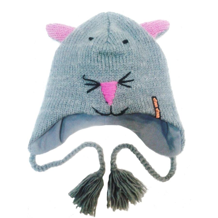 Шапка Кот серый с розовыми ушами (Шерсть)